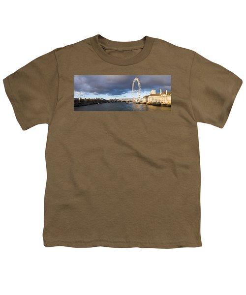 London Eye At South Bank, Thames River Youth T-Shirt by Panoramic Images