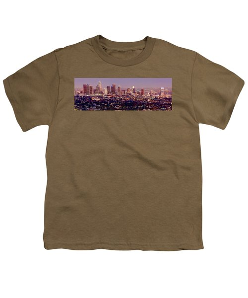 Los Angeles Skyline At Dusk Youth T-Shirt by Jon Holiday