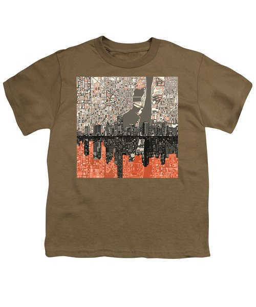 Miami Skyline Abstract 2 Youth T-Shirt by Bekim Art
