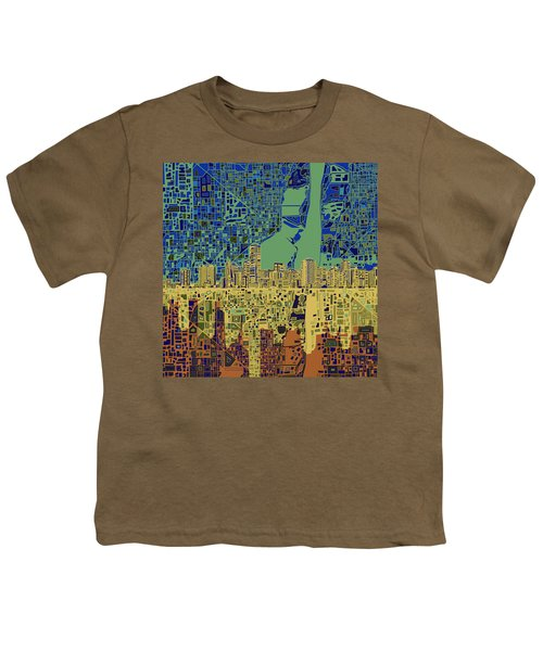 Miami Skyline Abstract 7 Youth T-Shirt by Bekim Art
