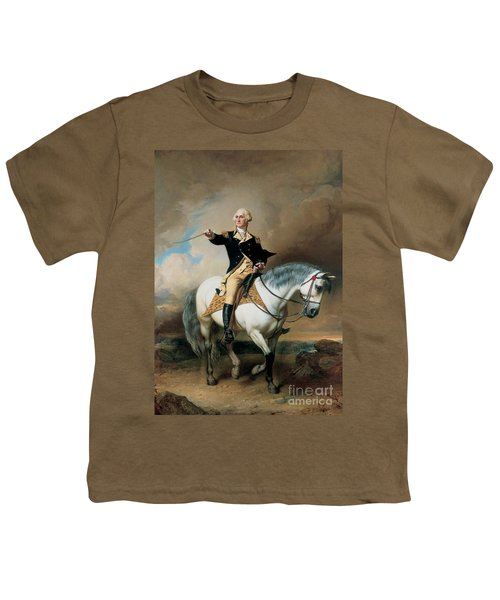 Portrait Of George Washington Taking The Salute At Trenton Youth T-Shirt by John Faed