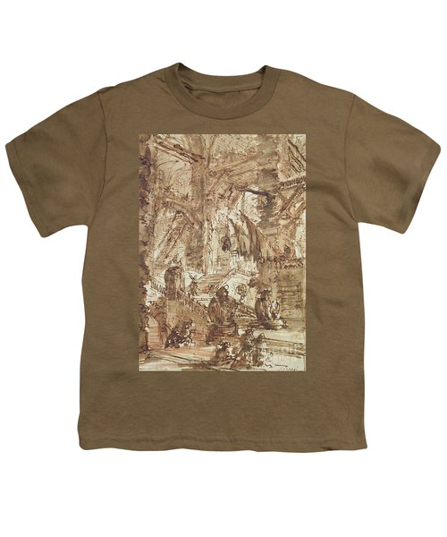 Preparatory Drawing For Plate Number Viii Of The Carceri Al'invenzione Series Youth T-Shirt by Giovanni Battista Piranesi