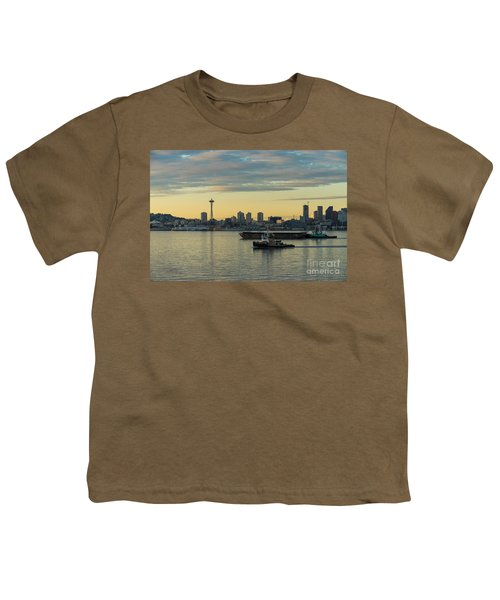 Seattles Working Harbor Youth T-Shirt by Mike Reid