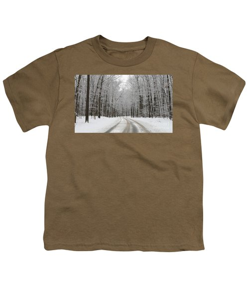 Snowy Road In Oak Openings 7058 Youth T-Shirt by Jack Schultz