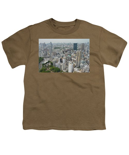 Tokyo Intersection Skyline View From Tokyo Tower Youth T-Shirt by Jeff at JSJ Photography