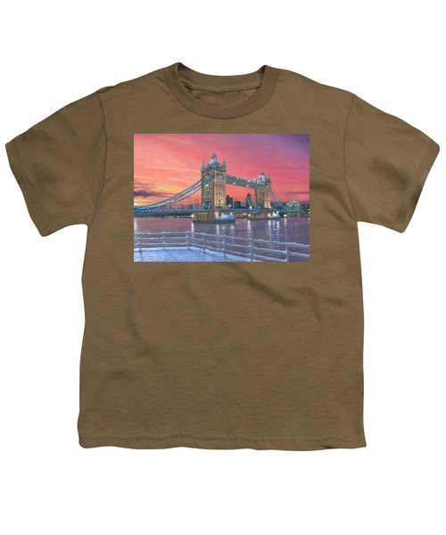 Tower Bridge After The Snow Youth T-Shirt by Richard Harpum