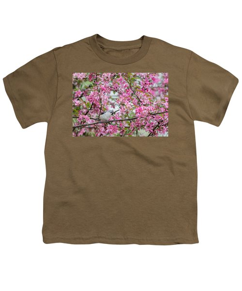 Tufted Titmouse In A Pear Tree Youth T-Shirt by Bill Wakeley