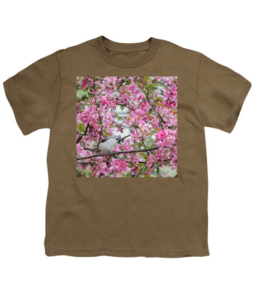Tufted Titmouse In A Pear Tree Square Youth T-Shirt by Bill Wakeley