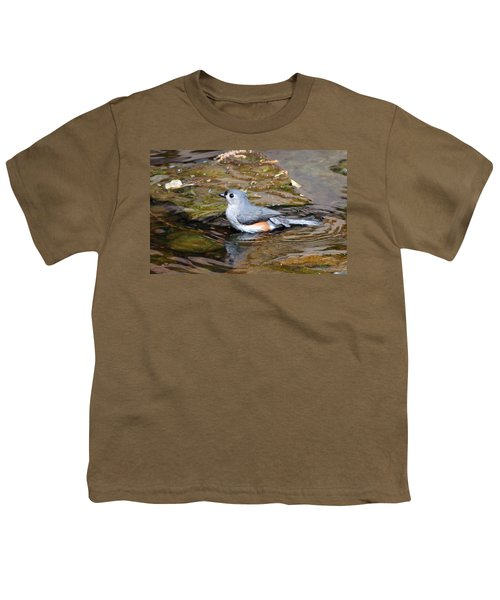 Tufted Titmouse In Pond II Youth T-Shirt by Sandy Keeton