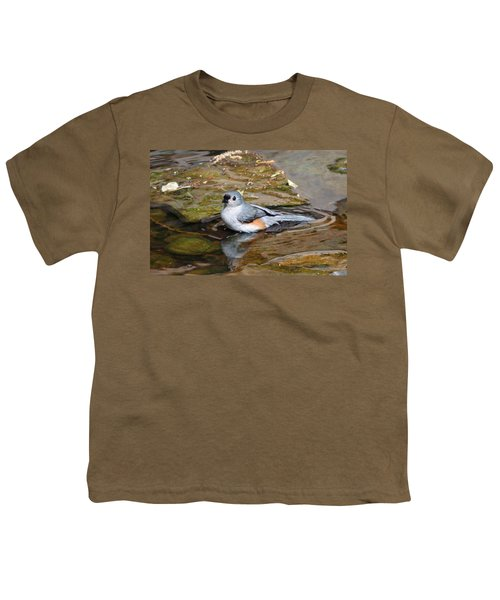 Tufted Titmouse In Pond Youth T-Shirt by Sandy Keeton