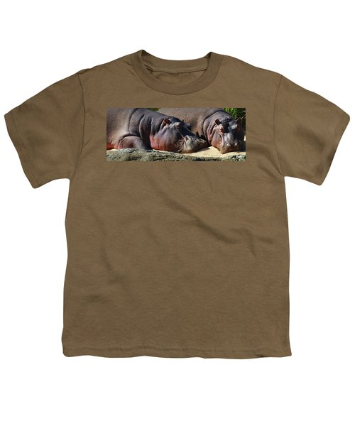 Two Hippos Sleeping On Riverbank Youth T-Shirt by Johan Swanepoel