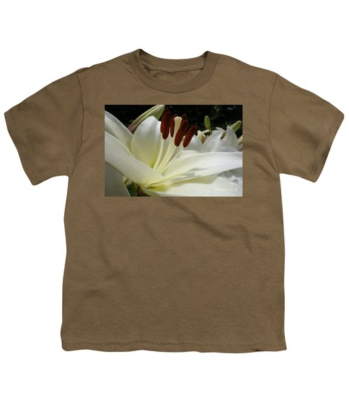 White Asiatic Lily Youth T-Shirt by Jacqueline Athmann