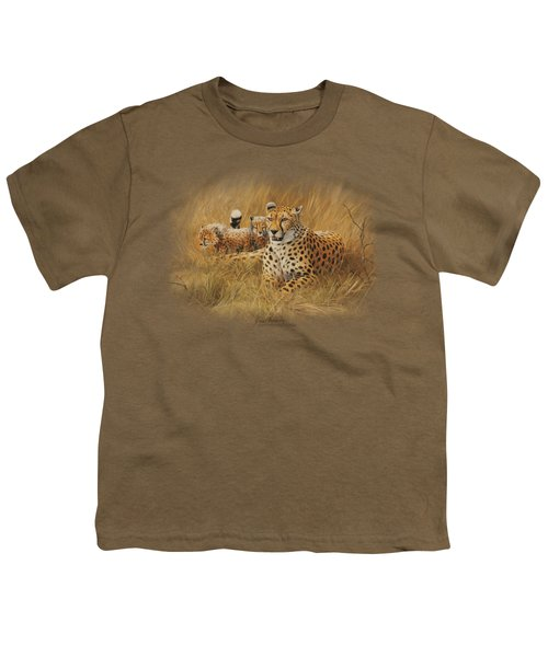 Wildlife - Cheetah Family Youth T-Shirt by Brand A