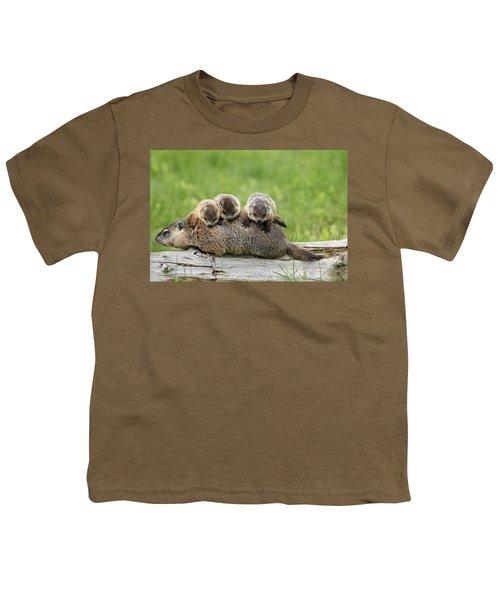 Woodchuck Carrying Young Minnesota Youth T-Shirt by Jurgen & Christine Sohns