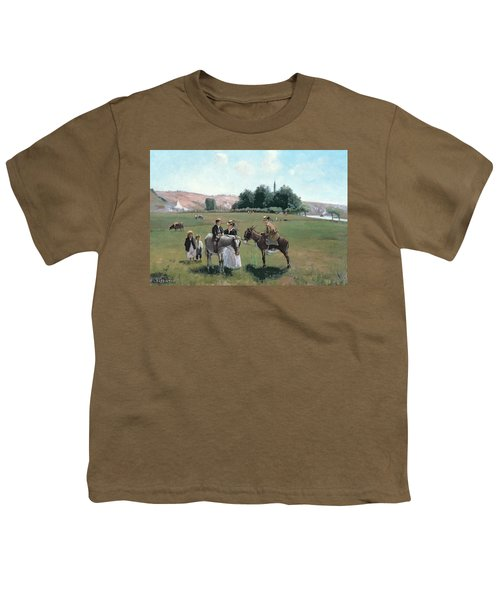Donkey Ride Youth T-Shirt by Camille Pissarro