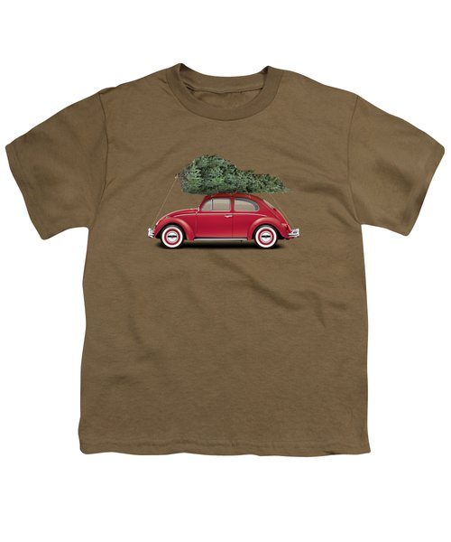 1962 Volkswagen Deluxe Sedan - Ruby Red W/ Christmas Tree Youth T-Shirt by Ed Jackson