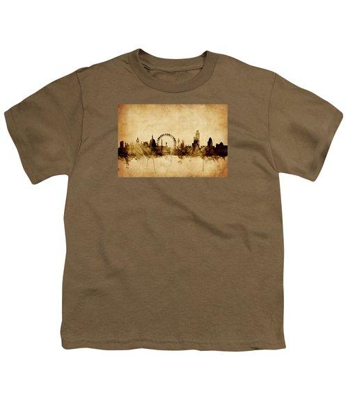 London England Skyline Youth T-Shirt by Michael Tompsett