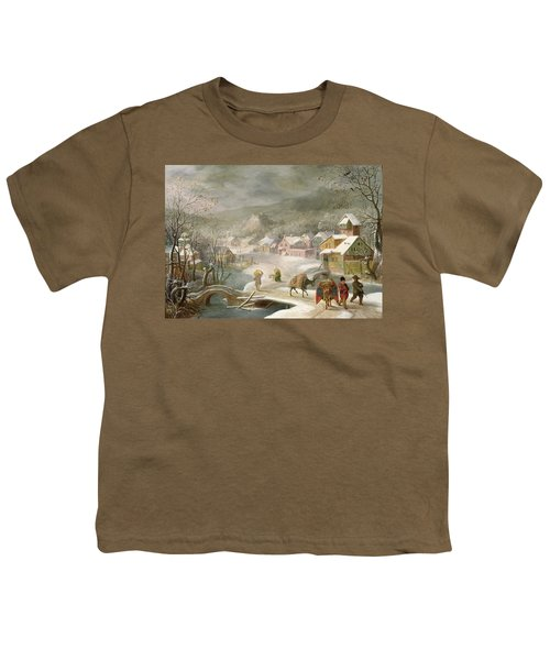 A Winter Landscape With Travellers On A Path Youth T-Shirt by Denys van Alsloot