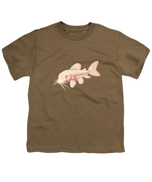 Albino Cory Catfish Youth T-Shirt by Lucy Niedbala