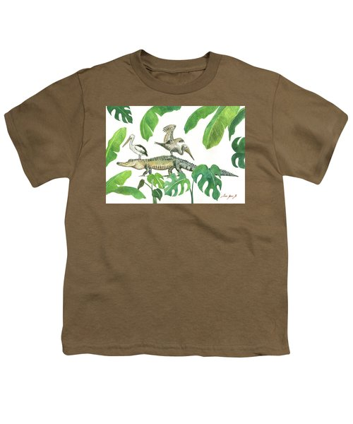 Alligator And Pelicans Youth T-Shirt by Juan Bosco