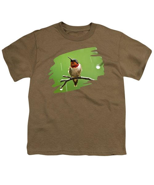 Another Rainy Day Hummingbird Youth T-Shirt by Christina Rollo