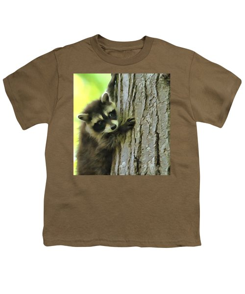 Baby Raccoon In A Tree Youth T-Shirt by Dan Sproul