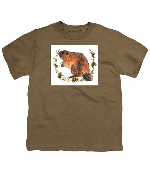 Beaver Painting Youth T-Shirt by Alison Fennell