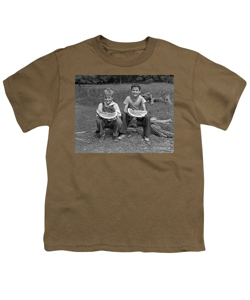 Boys Eating Watermelons, C.1940s Youth T-Shirt by H. Armstrong Roberts/ClassicStock