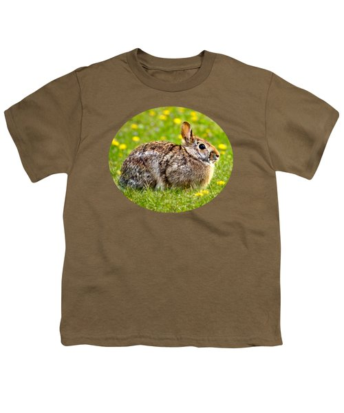 Brown Bunny In Green Grass Youth T-Shirt by Christina Rollo