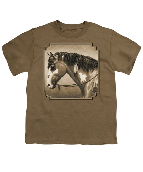 Buckskin War Horse In Sepia Youth T-Shirt by Crista Forest