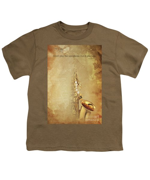Charlie Parker Saxophone Brown Vintage Poster And Quote, Gift For Musicians Youth T-Shirt by Pablo Franchi