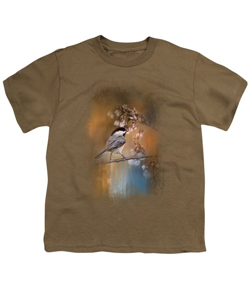 Chickadee In The Garden Youth T-Shirt by Jai Johnson