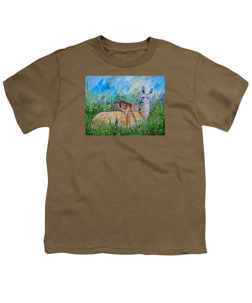 Deer Mom And Babe 24x18x1 Oil On Gallery Canvas Youth T-Shirt by Manuel Lopez
