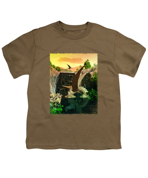 Fantasy Worlds 3d Dinosaur 2 Youth T-Shirt by Sharon and Renee Lozen