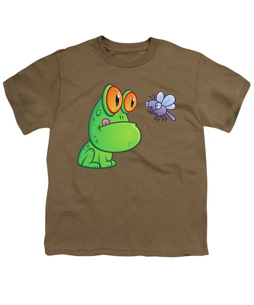 Frog And Dragonfly Youth T-Shirt by John Schwegel