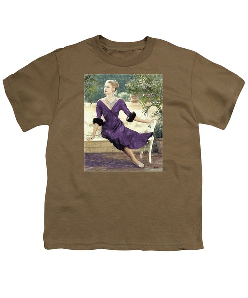 Grace Kelly Draw Youth T-Shirt by Quim Abella