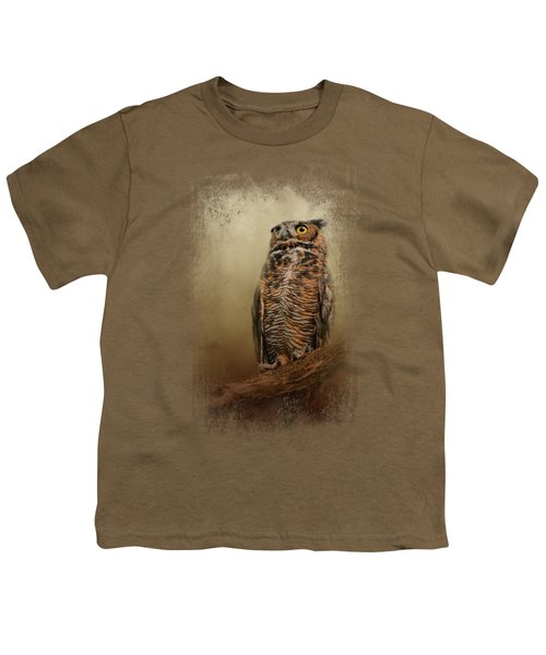 Great Horned Owl At Shiloh Youth T-Shirt by Jai Johnson