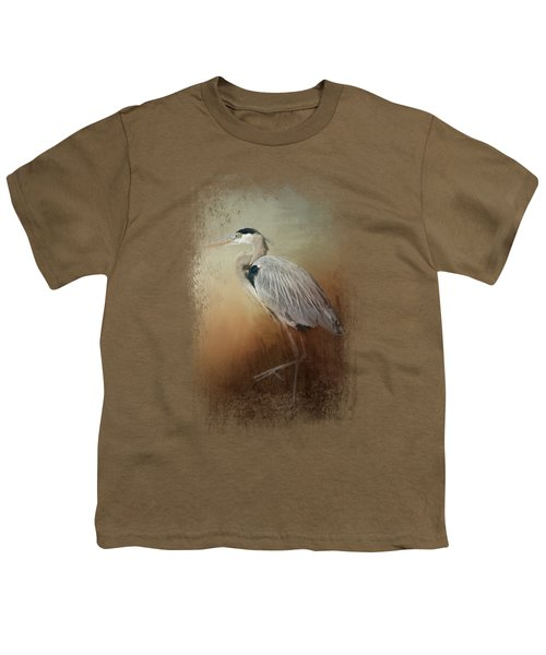Heron At The Inlet Youth T-Shirt by Jai Johnson