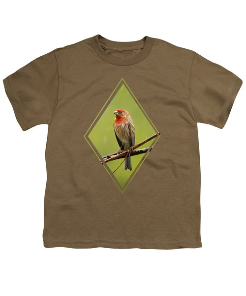 House Finch In The Rain Youth T-Shirt by Christina Rollo