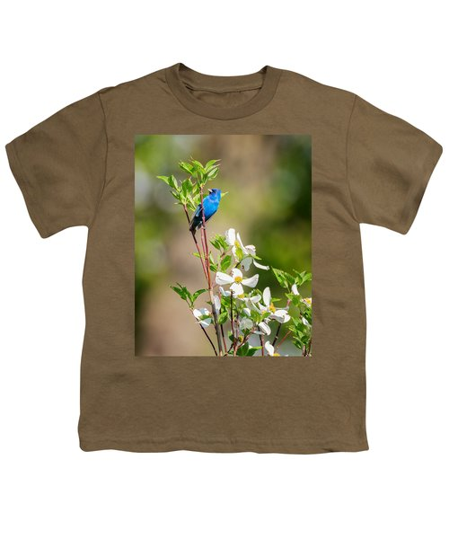 Indigo Bunting In Flowering Dogwood Youth T-Shirt by Bill Wakeley