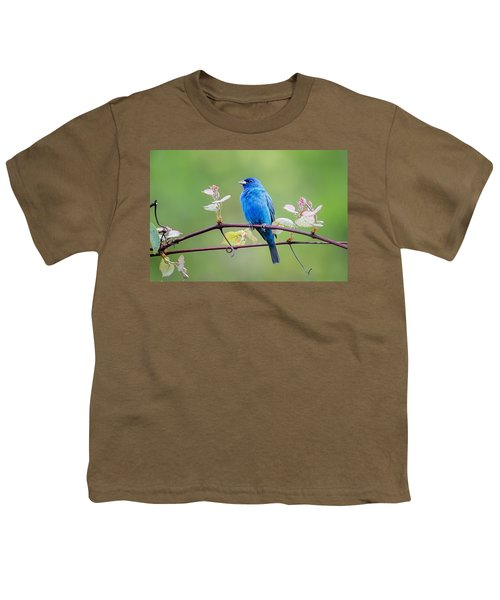 Indigo Bunting Perched Youth T-Shirt by Bill Wakeley