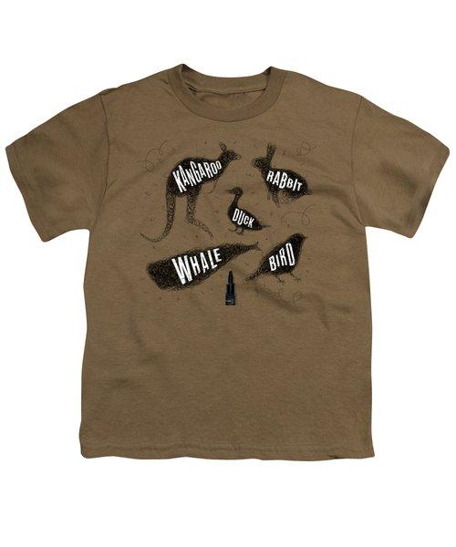 Kangaroo - Rabbit - Duck - Whale - Bird In Black Youth T-Shirt by Aloke Design