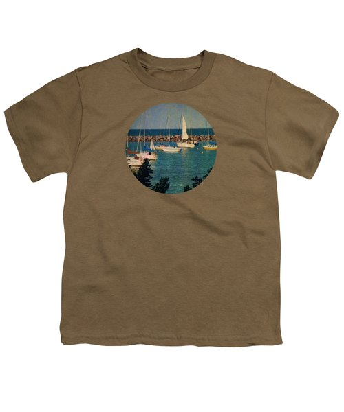 Lake Michigan Sailboats Youth T-Shirt by Mary Wolf