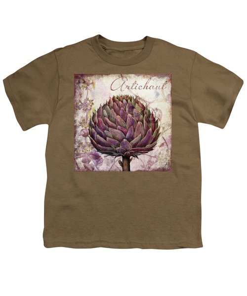 Legumes Francais Artichoke Youth T-Shirt by Mindy Sommers