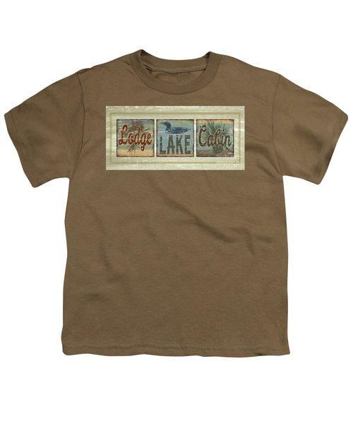 Lodge Lake Cabin Sign Youth T-Shirt by Joe Low