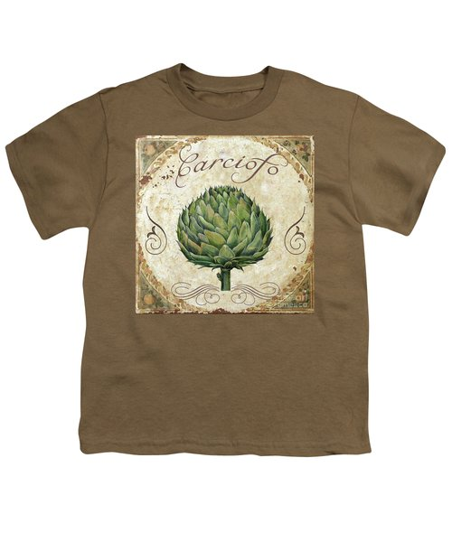 Mangia Artichoke Youth T-Shirt by Mindy Sommers