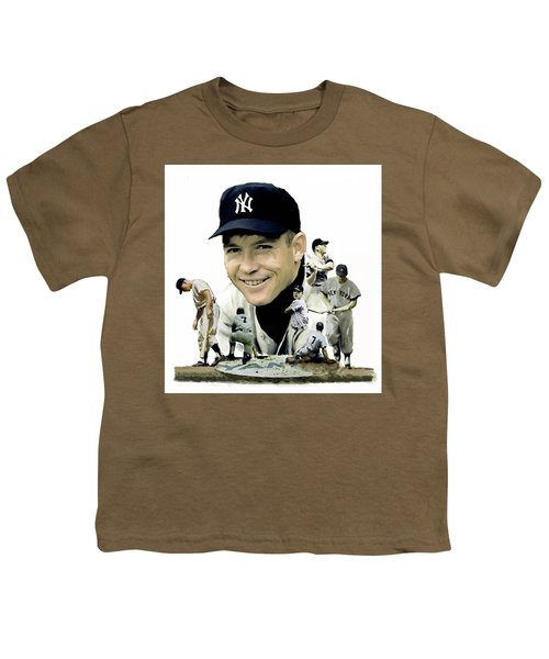 Mickey Mantle Legacy, II  Youth T-Shirt by Iconic Images Art Gallery David Pucciarelli