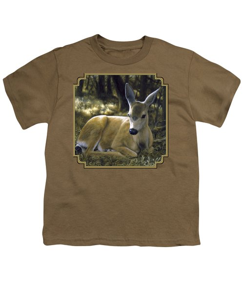 Mule Deer Fawn - A Quiet Place Youth T-Shirt by Crista Forest