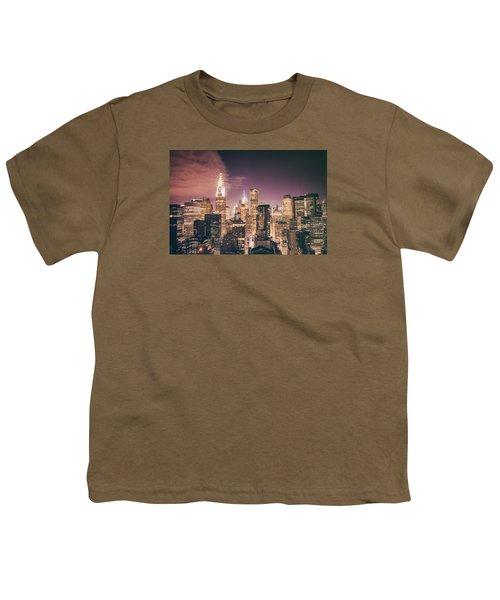 New York City Skyline - Night Youth T-Shirt by Vivienne Gucwa
