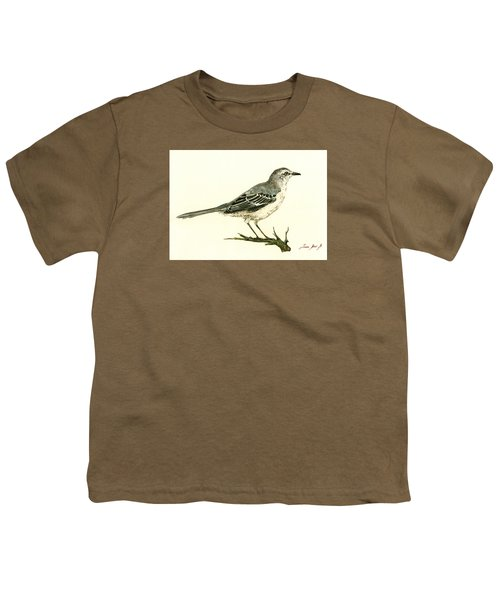 Northern Mockingbird Youth T-Shirt by Juan  Bosco